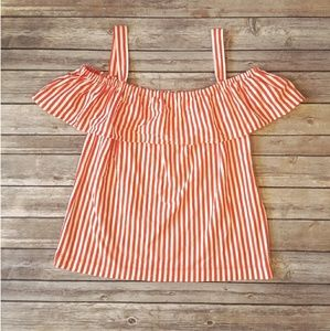 Nwt J. Crew Factory off the shoulder stripe tank
